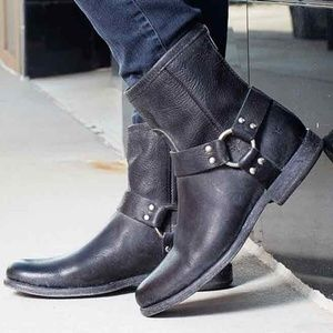 Frye Philip Harness Western Motorcycle Ankle Boots